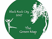 A circular graphic depicts the Burning Man effigy dancing toward a thin, leafy tree.  The graphic, which is cropped at top and bottom, includes the phrases 'Black Rock City 2008' and 'The Green Map'.